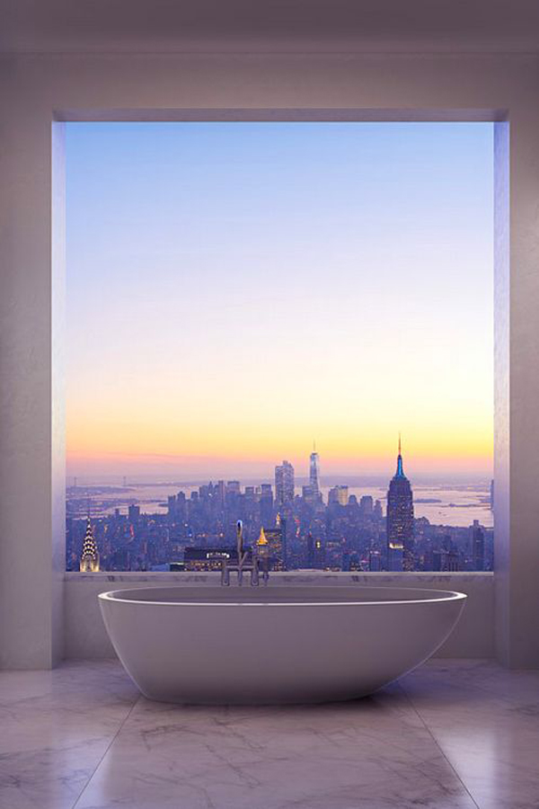 Beautiful bathroom sunset view for Sunset bathroom designs