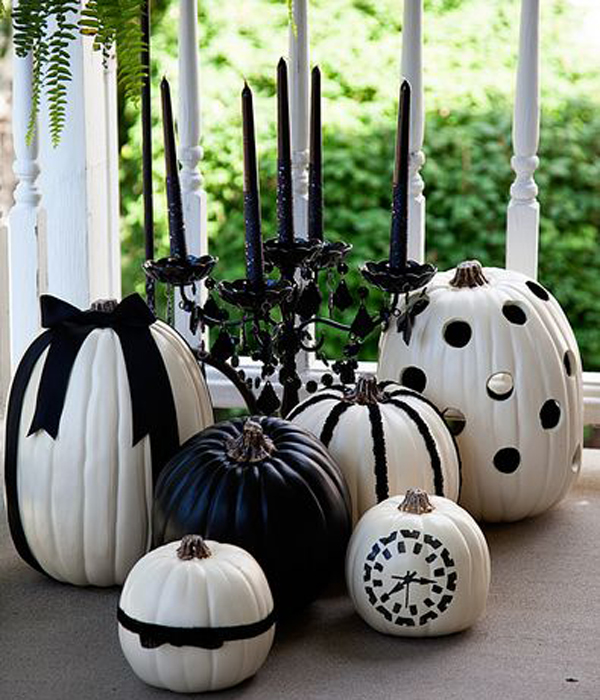Black and white halloween pumpkin