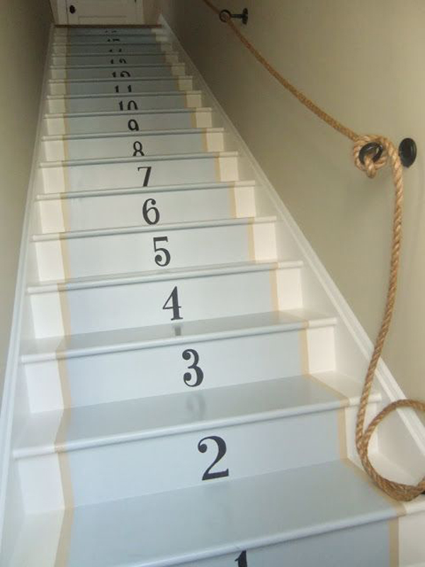 Cool Painted Stairway And Rope Rail Treatment