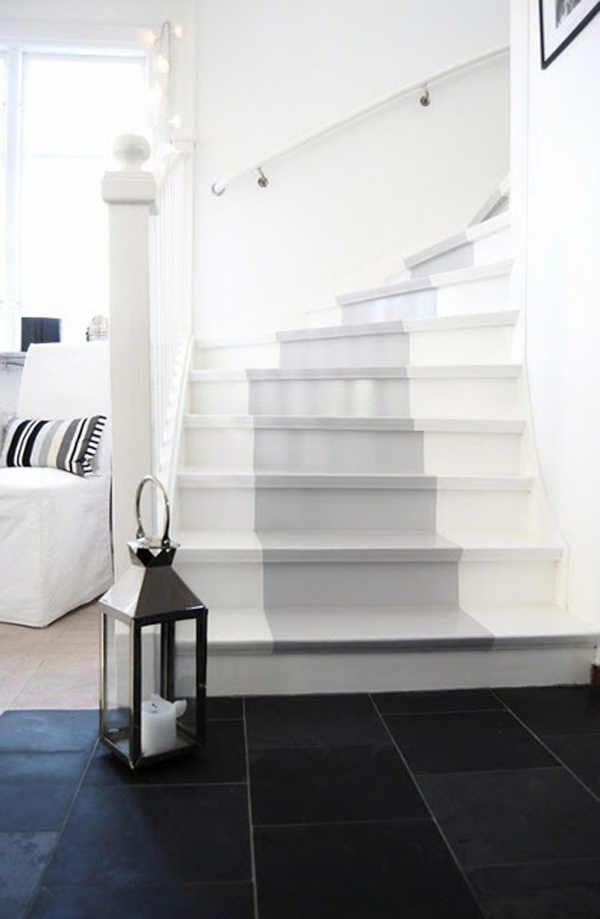 Cute Grey Painted Stairs Runner