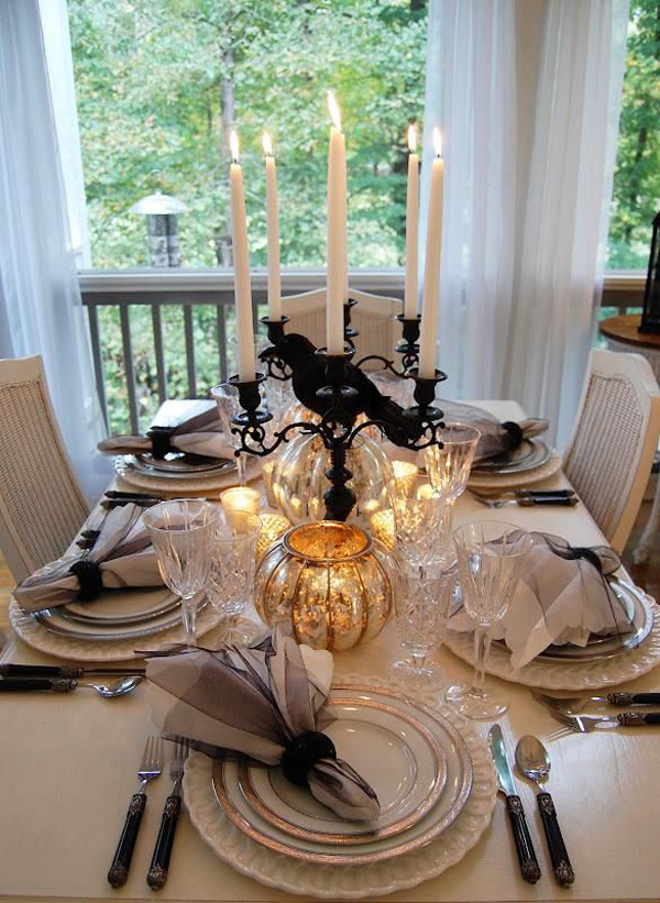 elegant halloween tablescape ideas. Black Bedroom Furniture Sets. Home Design Ideas