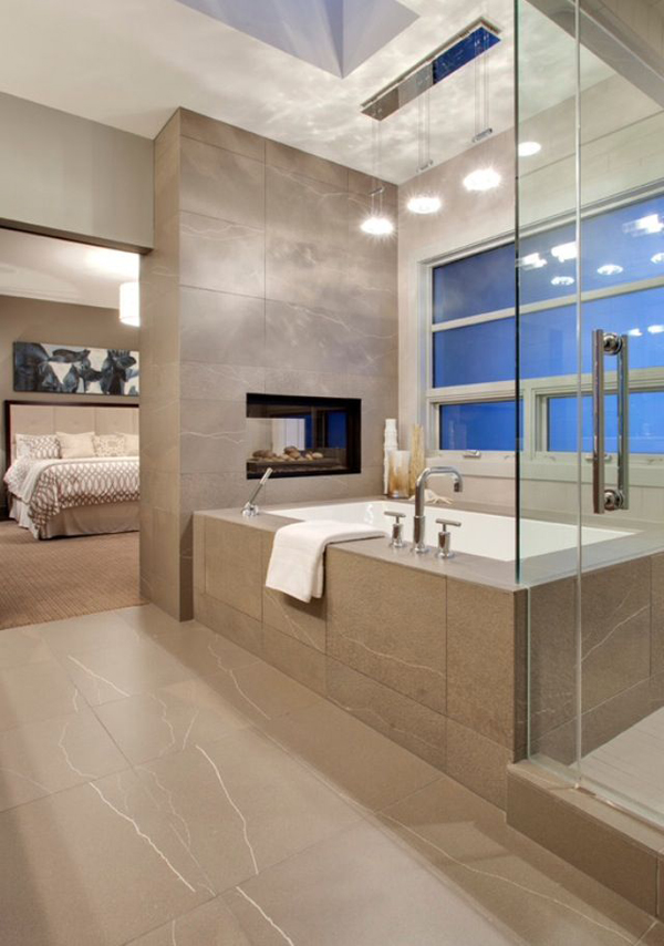 Luxury bathroom fireplaces Open master bathroom designs