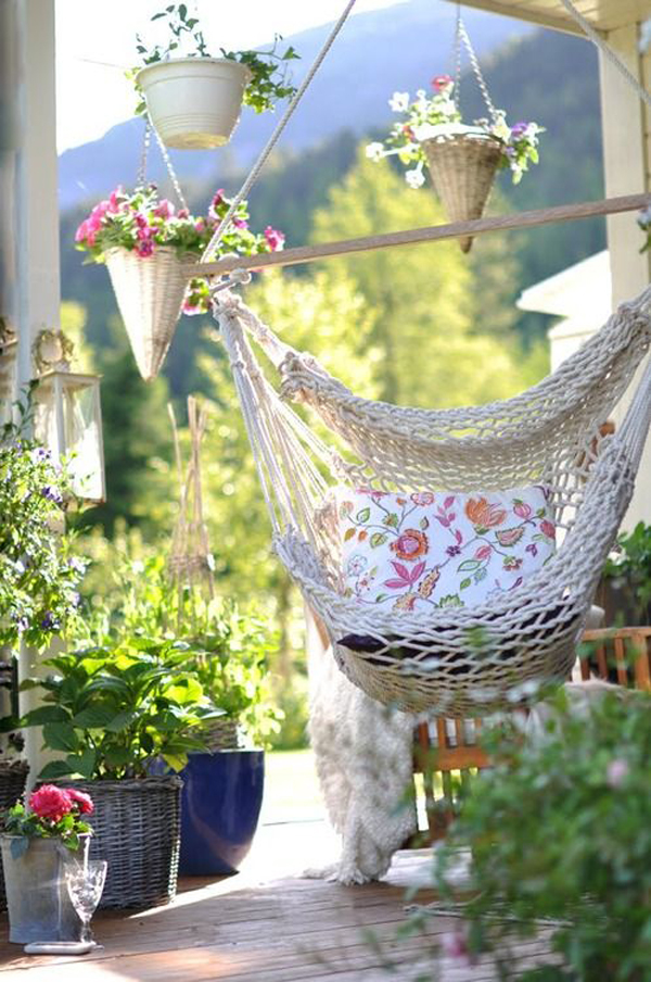 outdoor swing with flower ideas