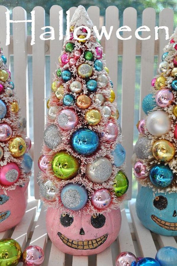 Pink Pumpkin Halloween Bottle Brush Tree Glass Ornaments