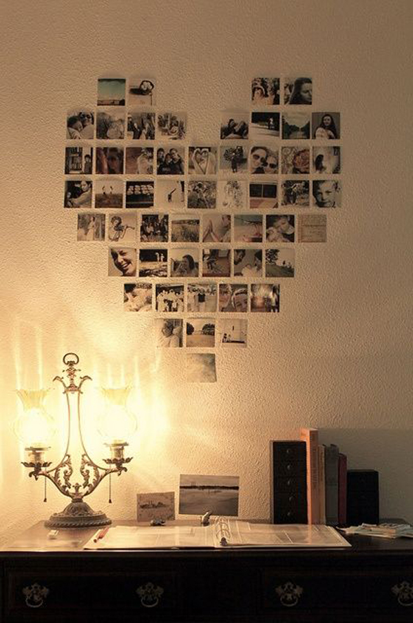 Polaroid love photo wall ideas for Display bedroom ideas