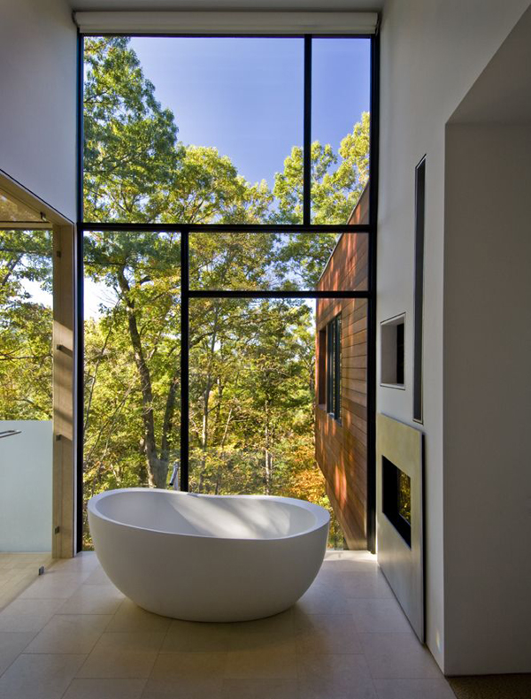 Small Bathtub With Forest View