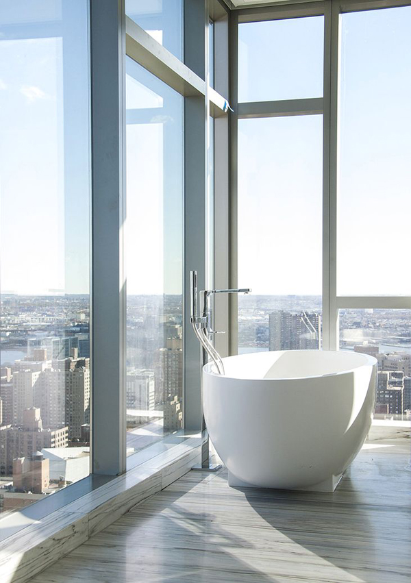 Stylish And Modern Bathroom City View