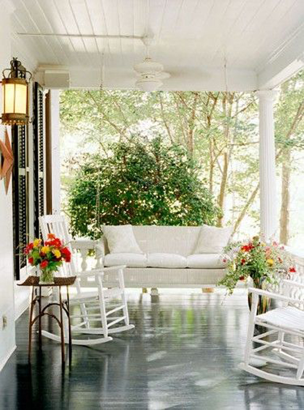 Summer porch swing sets for Small porch swing ideas