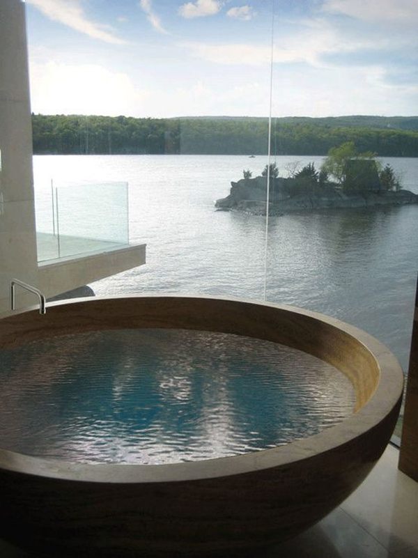Wood Bathtub With Lake View