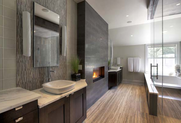 Bathroom With Tub And Fireplace Hooked On Houses