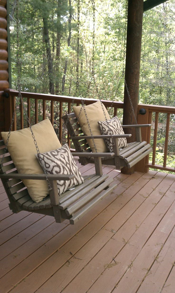 Wooden porch swing set for Small porch swing ideas