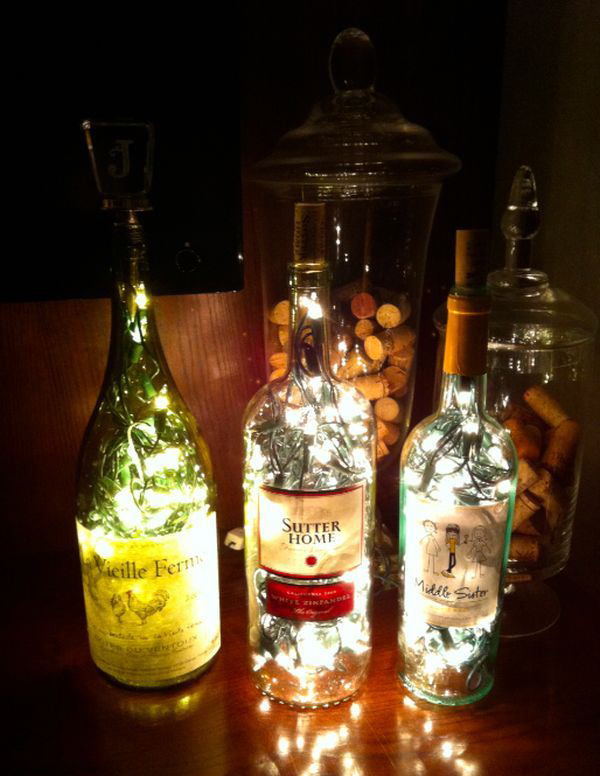 Diy wine bedside table lamp mozeypictures Gallery