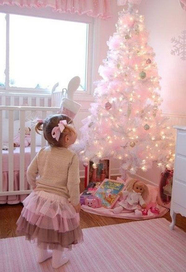 Decorate Small Living Room: Nursery-pink-christmas-trees