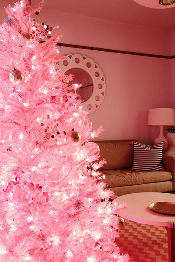 pink christmas light ideas - Light Pink Christmas Tree