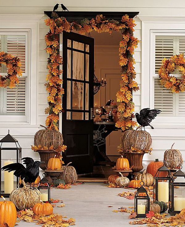 Door Decorating Ideas Home Decor And Design Image Of: Pumpkin-halloween-front-doors