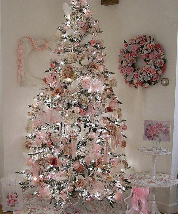Shabby chic pink christmas trees for Christmas tree with red and silver decorations