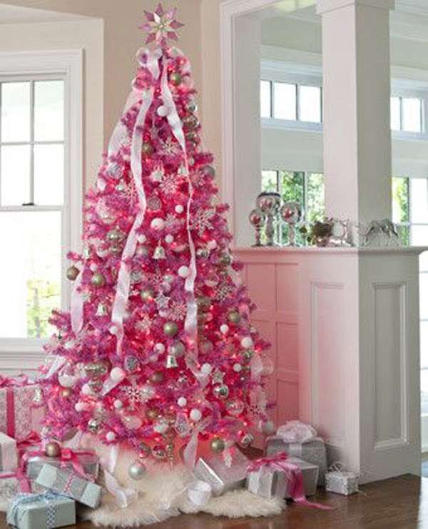 20 awesome pink christmas tree ideas - Light Pink Christmas Tree
