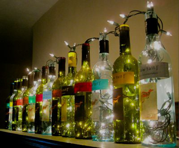 Wine bottle lights for Creative ideas for empty wine bottles