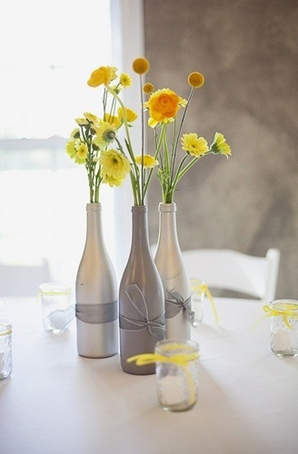20 creative diy wine bottle ideas home design and interior for Wedding table decorations with wine bottles
