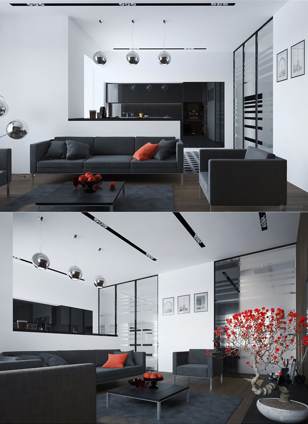 Black and red living room decor ideas for Black and red room decor ideas