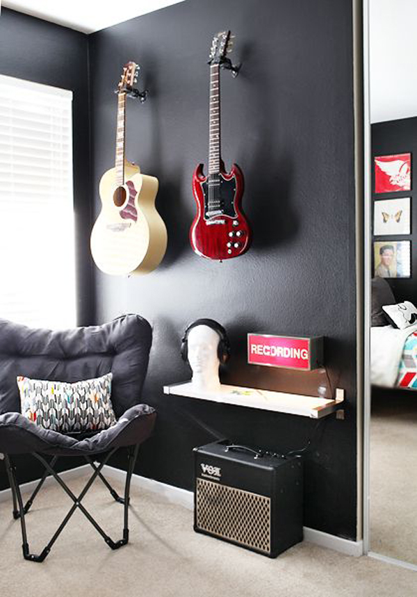 Boys Music Bedroom With Guitar Shelving Home Design And Interior