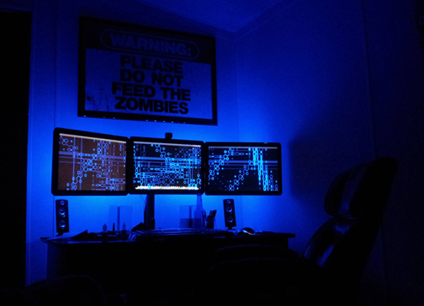Dark Computer Gaming Setup