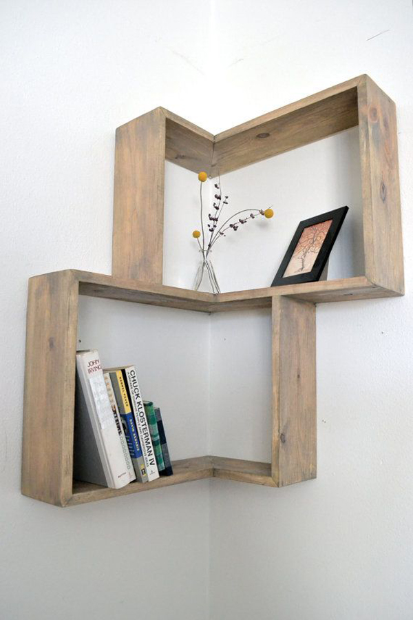 Diy Bookshelves Is Made From Quality Pine And Fit 90 Degree Wall Corner All Shelf Described Weathered Finish With Stain Lied On The Outer Edge