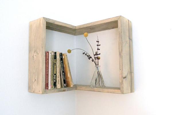 Diy wall corner bookshelves home design and interior