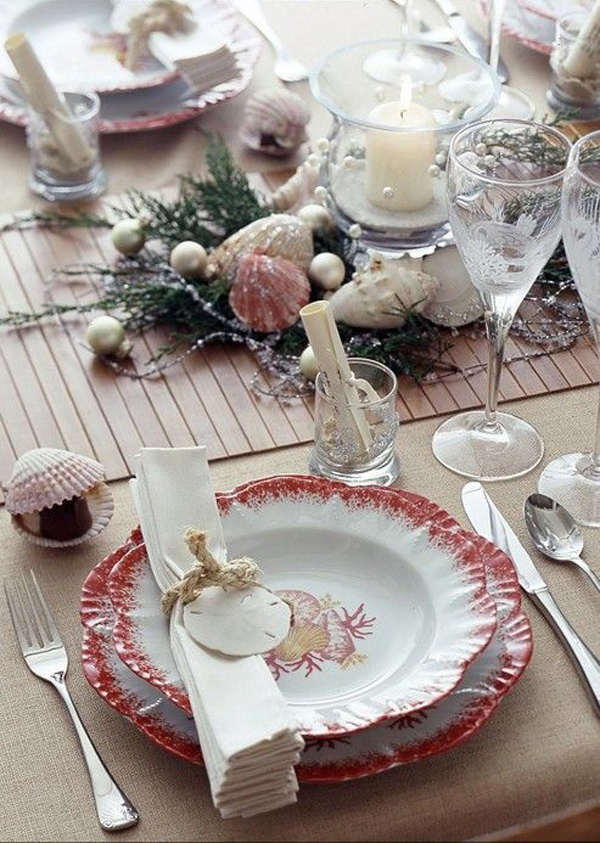 beach christmas table party ideas. Black Bedroom Furniture Sets. Home Design Ideas
