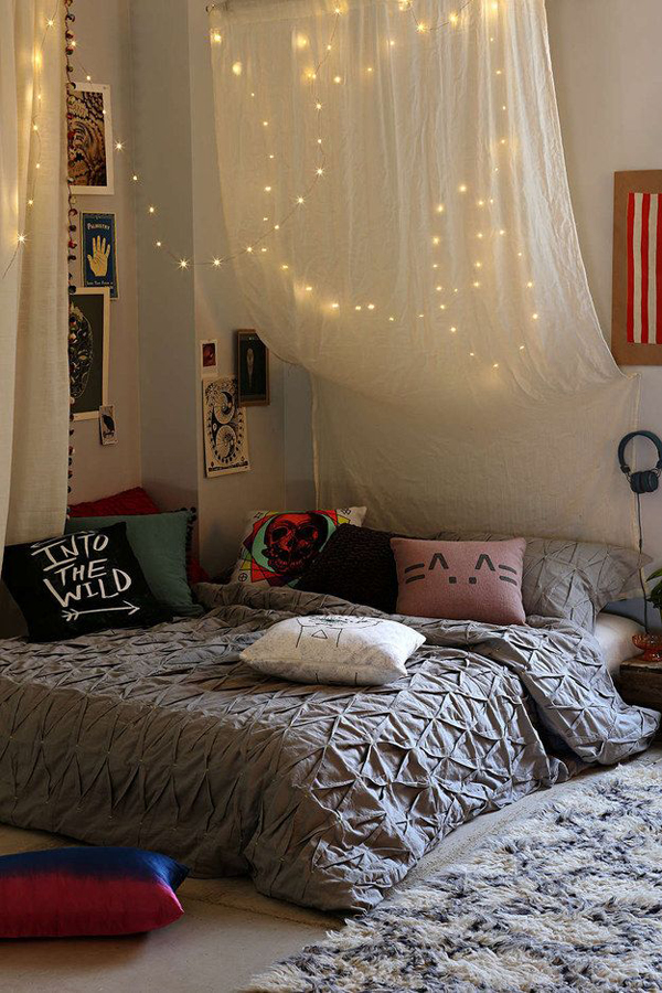 string lights bedroom ideas hang string teen room bed lights 17434