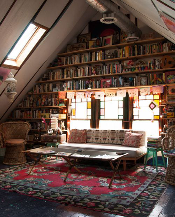 20 creative attic library for function room home design for Attic room decoration