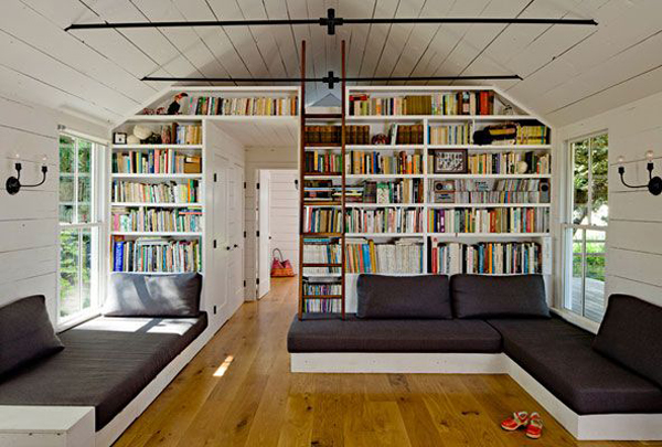 attic library with living room