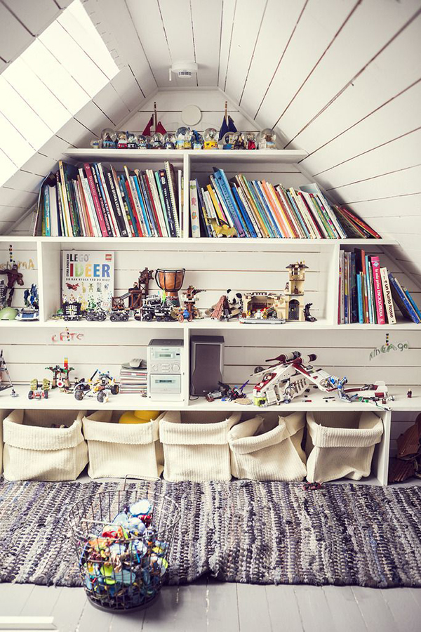 attic apartment storage ideas - 20 Creative Attic Library For Function Room