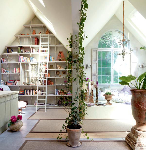 Beautiful Attic Library With Nature Theme