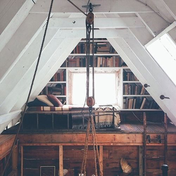 Interior Design Ideas For Home Theater: Cozy-attic-library- Design