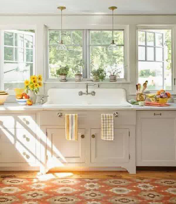 20 vintage farmhouse kitchen ideas home design and interior for House plans with kitchen sink window