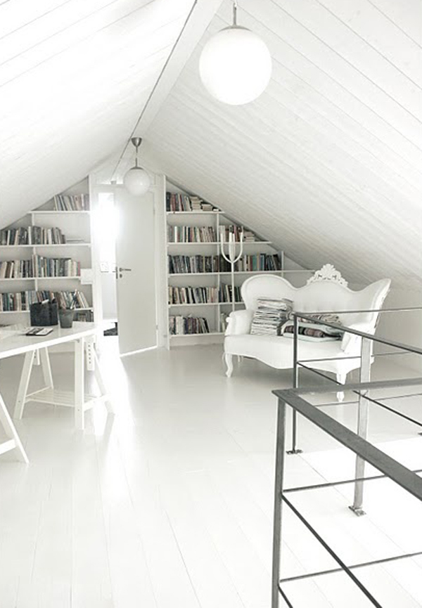 Modern White Attic Library