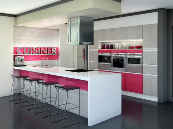 original kitchen design. Associated with furniture gray and white  pink has a place in the original kitchen This color is very suitable for women make room brighter 15 Original Kitchen With Pop Colors Home Design And Interior