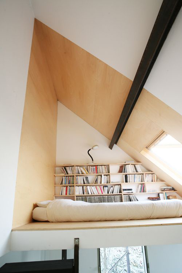 Small Attic Library With Bed