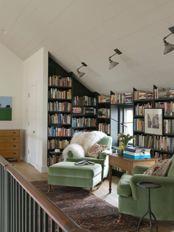 Small Attic Library With Sofa Furniture