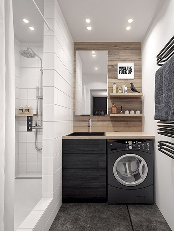 Bathroom Design With Laundry : Tiny laundry in bathroom