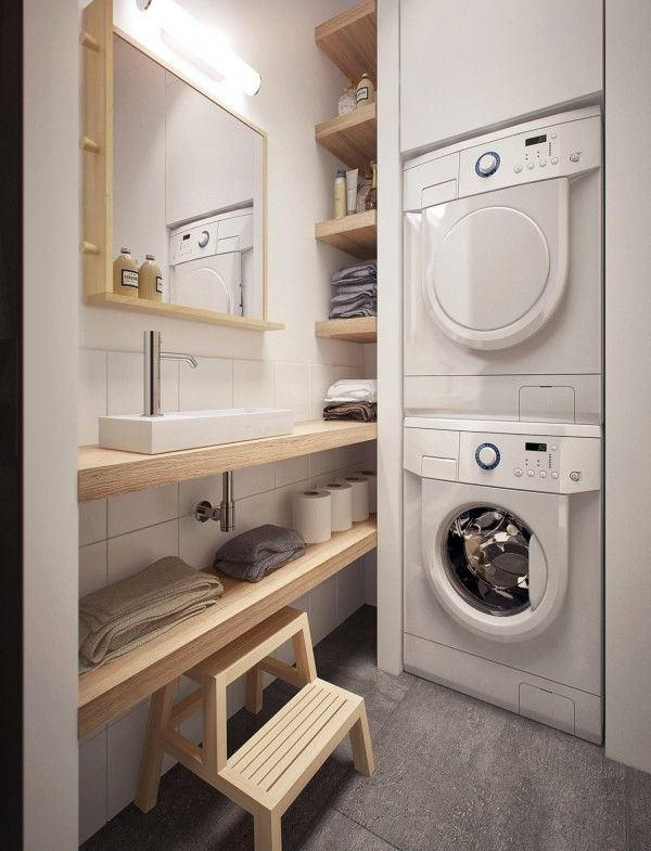 12 tiny laundry room with saving space ideas home design for Small bathroom laundry room designs