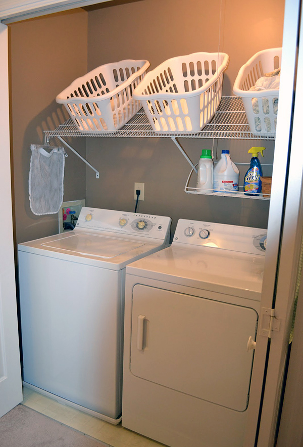 Was Also Very Saving E Some Storage Shelves Baskets Or Hide Under The Kitchen Table Is A Brilliant Idea Checking 12 Tiny Laundry Room Below And