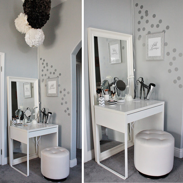 Diy ikea dressing area for tiny bedrooms home design and Small makeup vanity