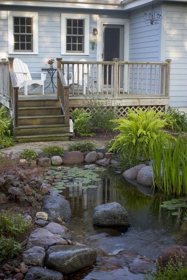 20 Beautiful Backyard Pond Ideas | HomeMydesign on Pond Ideas Backyard id=81366