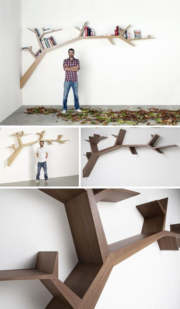 Cool hanging branches tree bookshelf Cool wood shelf ideas