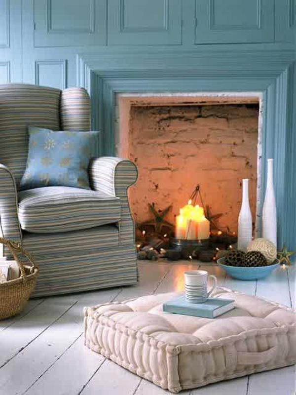 cozy candle fireplace with sofa furniture