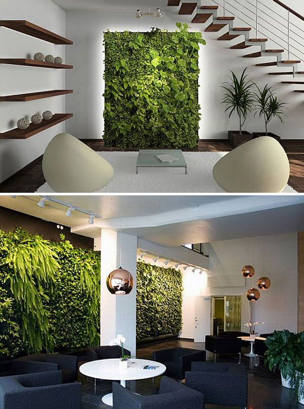 Indoor vertical gardens Interior design plants inside house