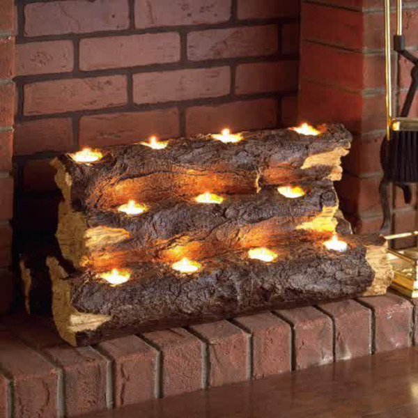 log candle fireplace screens rh homemydesign com Tea Light Fireplace candle holder fireplace screen