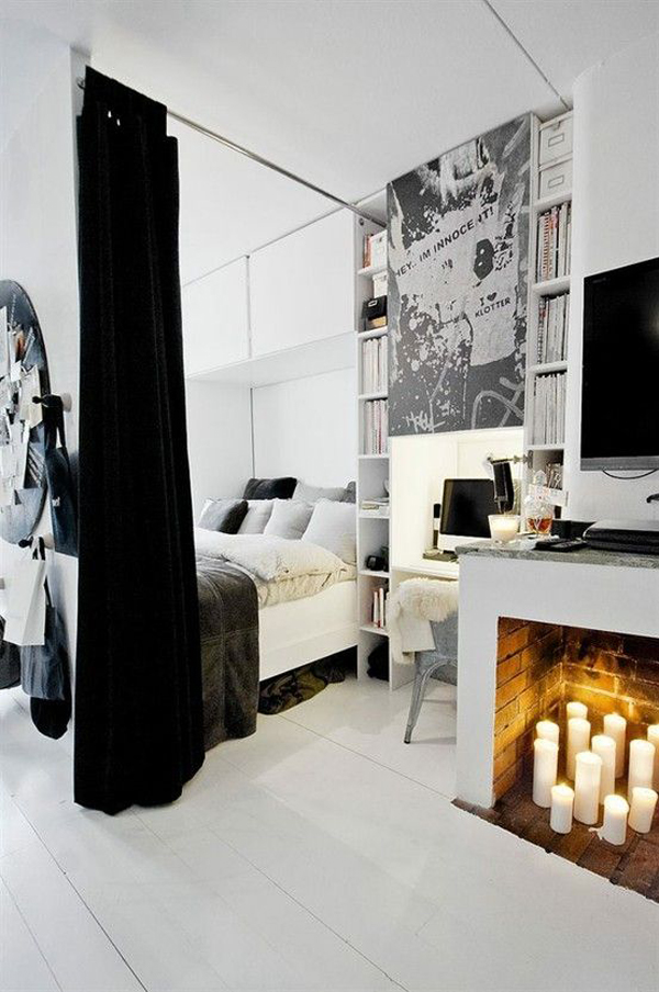 minimalist candle fireplace bedrooms